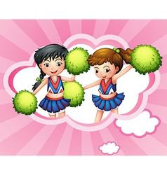 Two cheerers inside a cloud vector