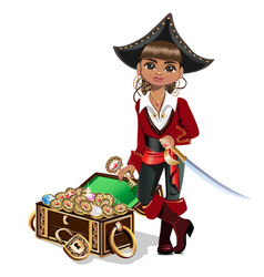 Girl pirate with treasure chest vector