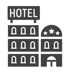 Hotel building solid icon travel and tourism vector