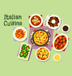 Italian cuisine healthy dishes for lunch icon vector
