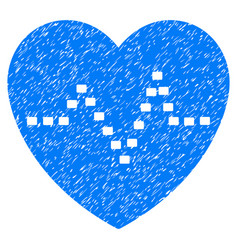 Dotted heart pulse grunge icon vector