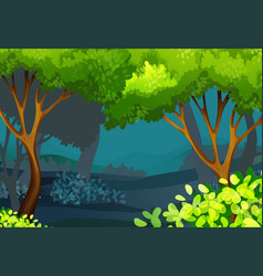 Forest scene with trees and bush vector