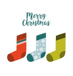 Socks happy merry christmas card vector