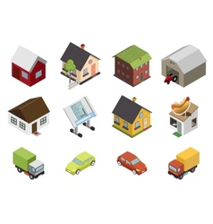 Isometric retro flat cars house real estate icons vector