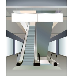 Two escalators in mall and plates vector