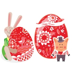 Easter eggs with pig and rabbit vector