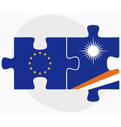European union and marshall islands flags in vector