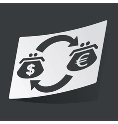 Monochrome dollar euro exchange sticker vector