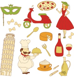 Italy colored icons vector