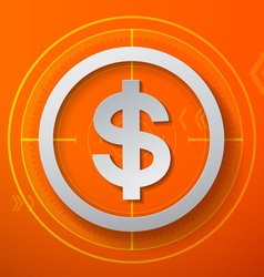 Dollar sign on orange technology background vector