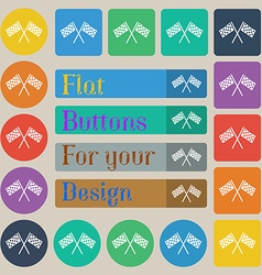 Race flag finish icon sign set of twenty colored vector