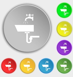 Washbasin icon sign symbols on eight flat buttons vector