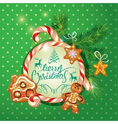 New year holiday greeting card with xmas gingerbre vector