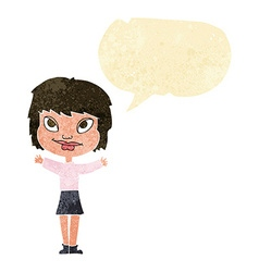 Cartoon woman waving arms with speech bubble vector