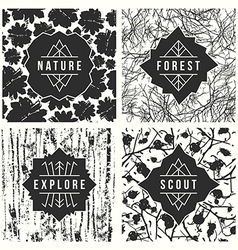 Label design with seamless patterns vector