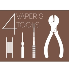 4 one color vaper tools set vector