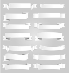 White paper banners and ribbons with shadow vector
