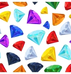Different colourful gemstones seamless pattern vector