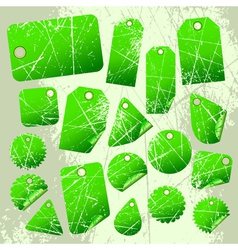 Set of green tags vector