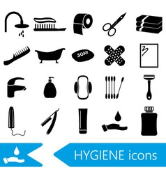 Hygiene theme modern simple black icons set eps10 vector
