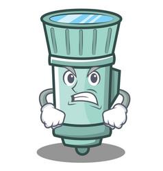 Angry flashlight cartoon character style vector