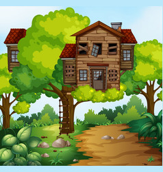 big treehouse in the park vector image