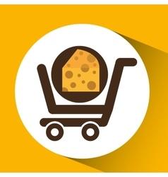 Cart buy delicious cheese food vector
