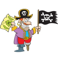 Cartoon pirate holding a map and flag vector image vector image