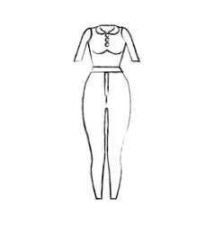 Contour fashion blouse and pants cloth style vector