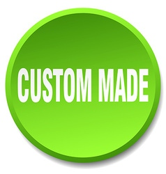 Custom made green round flat isolated push button vector