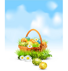 easter eggs basket vector image vector image
