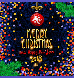 gold merry christmas and happy new year vector image