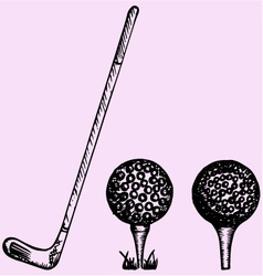 Golf club ball playing vector image