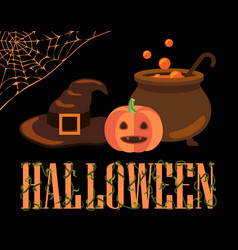 halloween poster with icons vector image vector image