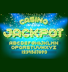 jackpot casino neon font vector image vector image