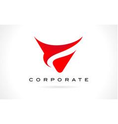 letter v red logo design vector image vector image