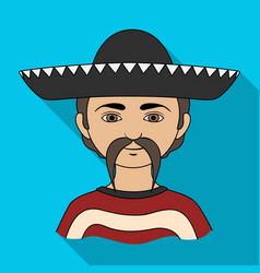 Mexicanhuman race single icon in flat style vector