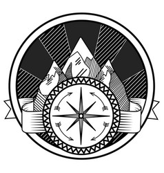 mountains and compass abstract tattoo vector image vector image