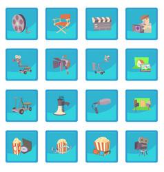 Movie cinema symbols icon blue app vector