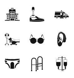 People with disabilities icons set simple style vector