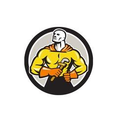 Plumber superhero monkey wrench circle retro vector