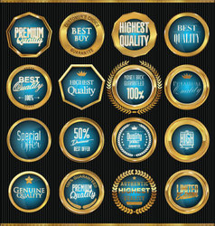 Premium quality gold and blue labels collection vector image