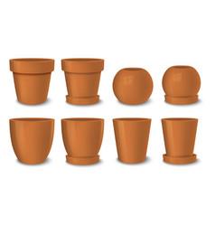Realistic brown empty flower pot set vector