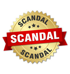 Scandal round isolated gold badge vector