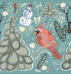 Seamless winter pattern with cute cardinal bird vector