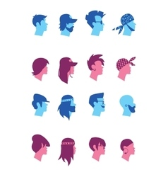 Set avatars music fans vector image