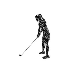 Silhouette drawing girl playing golf in position vector