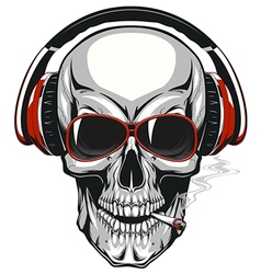 Skull with headphones vector image