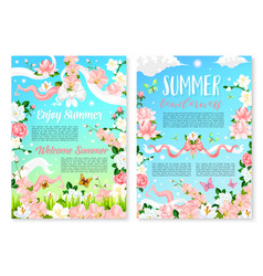 Welcome summer poster template with flowers vector