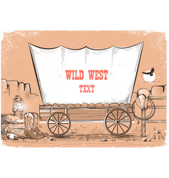 Wild west wagon background for text vector